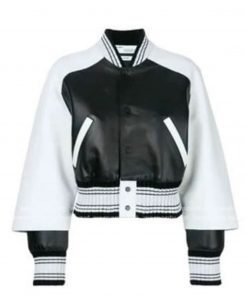 The Bold and the Beautiful Diamond White Bomber Leather Jacket