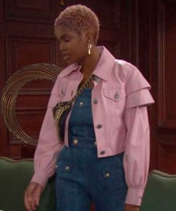Diamond White The Bold and the Beautiful Pink Leather Jacket