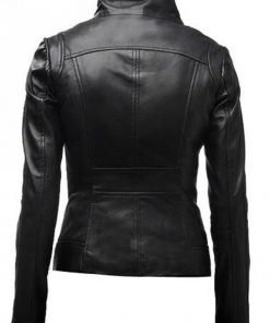 Women's Casual Stand Collar Leather Jacket