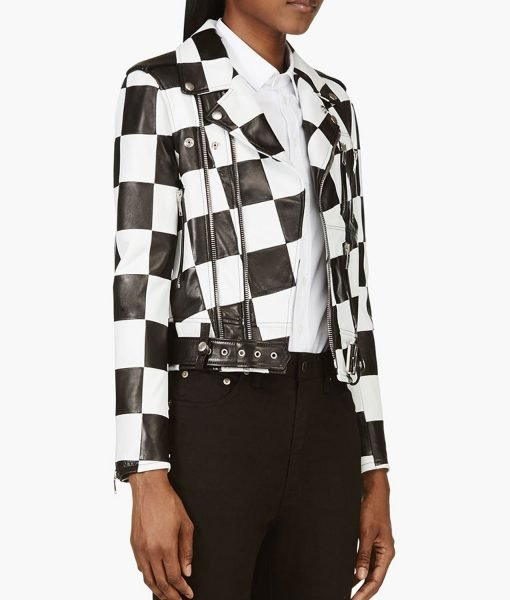 Diamond White Bold and the Beautiful Checkered Leather Jacket