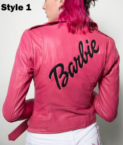 Women's Pink Barbie Doll Belted Leather Jacket