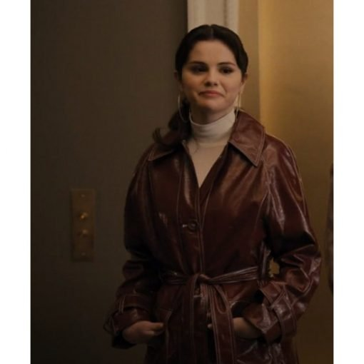 Only Murders in the Building Mabel Maroon Leather Coat
