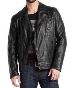 Men's Asymmetrical Zipper Black Biker Leather Jacket
