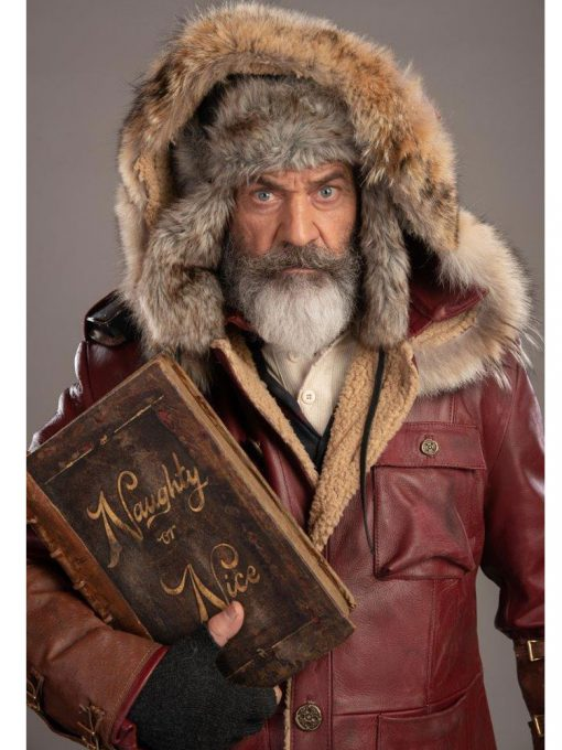 Mel Gibson Fatman Red Hooded Leather Jacket