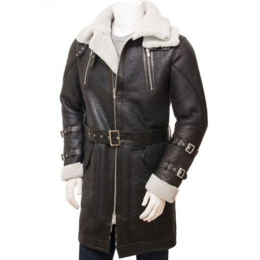 Men's Double Collar Brown Shearling Leather Coat