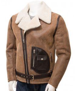 Men's Motorcycle Asymmetrical Distressed Brown Shearling Jacket