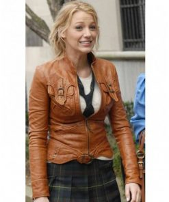 Gossip Girl Blake Lively Brown Leather Jacket